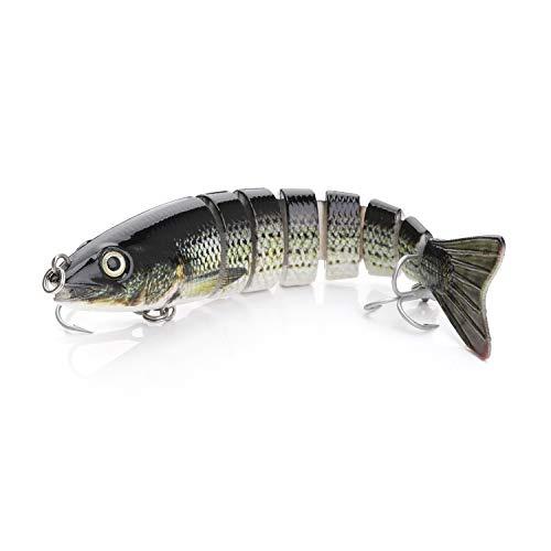 "5.35"" 19.5g Lifelike Multi-Jointed 8-segement Pike Muskie Fishing Lure Large Swimbait Crankbait Hard Bait Fish VMC Treble Hook Tackle (Type B)"