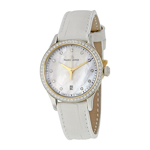 Maurice Lacroix Lc1113-Pvy21-170 Women's Les Classiques Diamond White Leather Mop Dial Small Watch