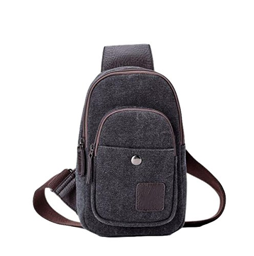Canvas Oblique Cross Men Students Black Backpack Casual Package Male Pockets Fashion Bag Chest r6aqZrI