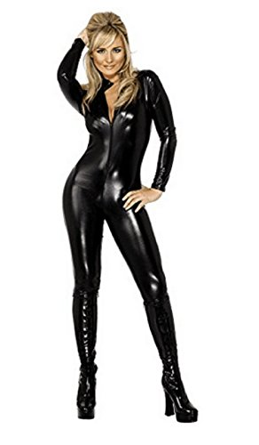 Lorembelle Ladies Sexy Catwoman Catsuit PVC Jumpsuit Cat Sexy Halloween Hero Villain Fancy Dress Costume Outfit (L/US 6, Black) for $<!--$23.99-->