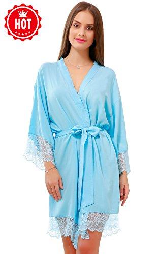 GoldOath Women's Kimono Robes Cotton Lightweight Robe Long Bathrobe Soft Sleepwear V-Neck Ladies Nightwear with Lace Trim ()