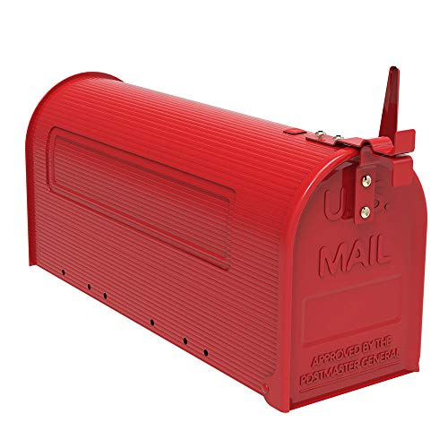 - New Red Iron Post Mount Mailbox Outdoor Letter Storage Rural Designed Mailbox