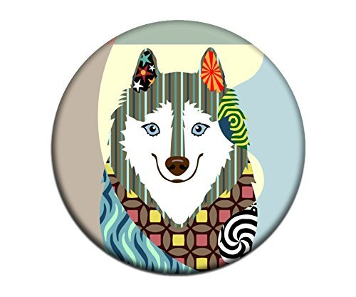 (American Eskimo Magnet 2. 25 inches diameter & 0.25 inches)