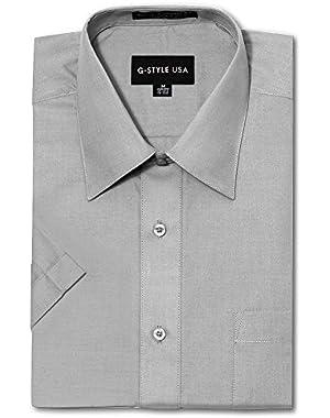 Men's Regular Fit Short Sleeve Solid Color Dress Shirts