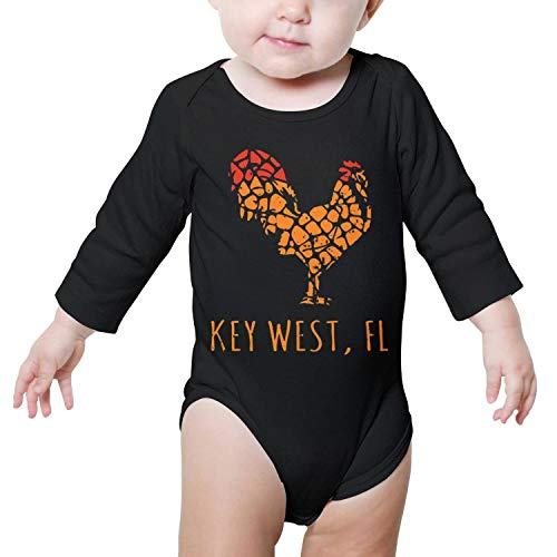 PoPBelle Key west Island Florida Rooster Baby Onesies Black Clothing Long Sleeve Organic Cotton -