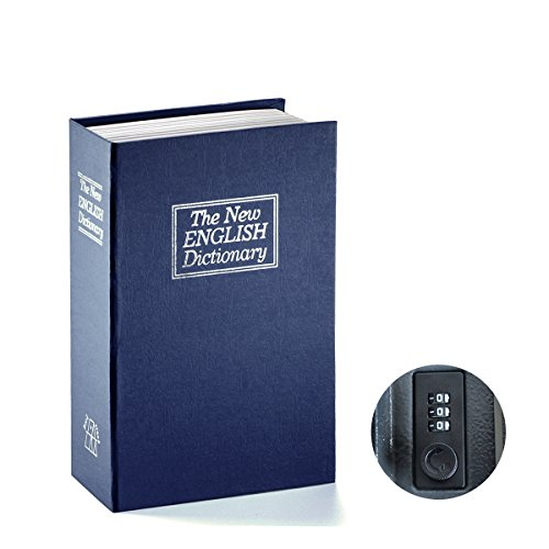Book Safe with Combination Lock - Jssmst Home Dictionary Diversion Metal Safe Lock Box 2017, SM-BS0405S, navy small