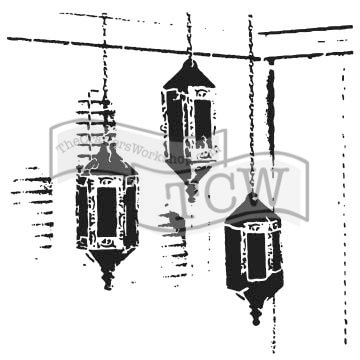The Crafter's Workshop Set of 2 Stencils - Exotic Lamps - 12x12 Large and 6x6 inch Mini - Includes 1 each TCW786 and TCW786s - Bundle 2 Items