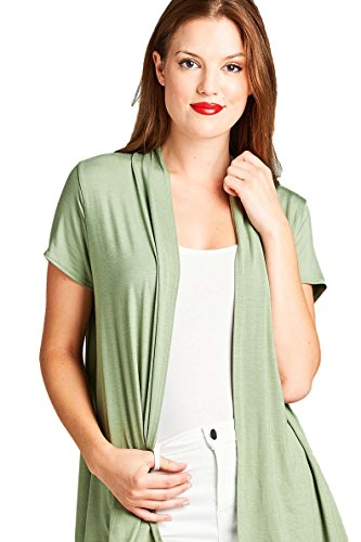 ReneeC. Women's Extra Soft Natural Bamboo Short Summer Cardigan - Made in USA (Large, Olive)