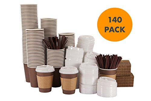 SUPER JUMBO Set of 140 - 12 Oz Disposable Hot Paper Coffee Cups with Lids, Sleeves and Stirring (Cop Premium Package)
