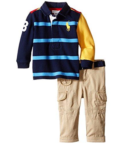 Ralph Lauren Cotton Rugby Shirt & Pant Set, Classic Wine Multi (6 Months)