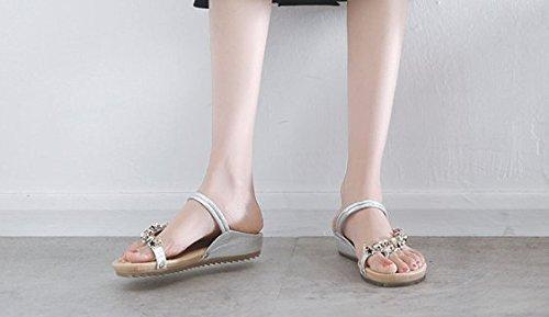 Femme Extérieure Silver Chaussures D'usure Avec Tongs Été Pincée Artificiels Scloths Toe Télévision Diamants wqWFCEnH