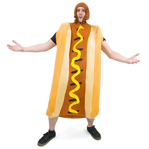Sexy Hot Costumes (Footlong Hotdog & Wiener Bun Halloween Costume, Unisex Men & Women Sausage Suit)