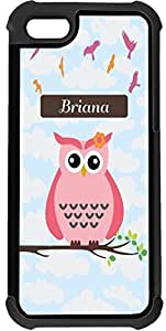 "Beautiful-Diy ""Briana"" Name - Cute Pink Owl on Branch with Personalized Name 2-In-1 Black Hard Plastic top with Black protective Insert case cover for TbkOQEEwswL Apple iPhone 5 &"