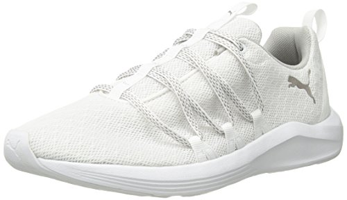 PUMA Women's Prowl Alt Knit Mesh Wn Sneaker, White-Metallic Beige, 8 M US
