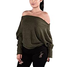 Kimloog Women Oversized Off Shoulder Bat-wing Sleeve Knitted Jumper Sweater Loose Tops (L, Army Green)