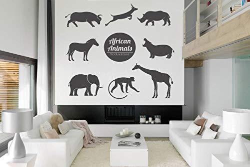 Africa Wall Art Decals Decor - African Woman Savannah Animals Pride Stickers Decorations - Vinyl Pictures for Office Studio Shop Home Kids Nursery Boys Girls Room Bedroom Door Window CT105