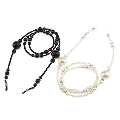 Homyl 2pcs Beautiful Elegant Beaded Eyeglasses Holder Necklace Sunglasses Neck Strap Chain String White - Strings Spectacle Beaded