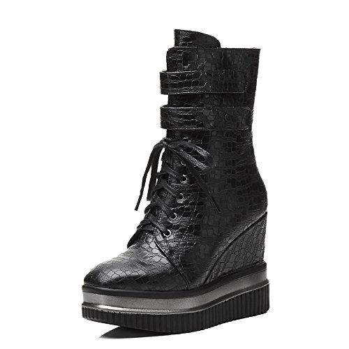 Boots Heels Meotina Mid Women Zipper Shoes Black Wedge High Toe Boots Heels Square Calf Platform q7Awqp0
