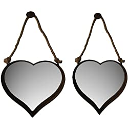Cheungs FP-3813-2 Set of 2 Nesting Heart Shape Mirrors with Rustic Metal Frame44; Rope Hangers - 20 x 2.5 x 19.75 in.