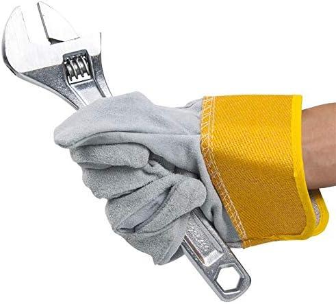 労働保護作業用手袋 労働保険革手袋耐摩耗性やけど防止溶接機溶接手袋、3ペア (Color : Orange, Size : L)