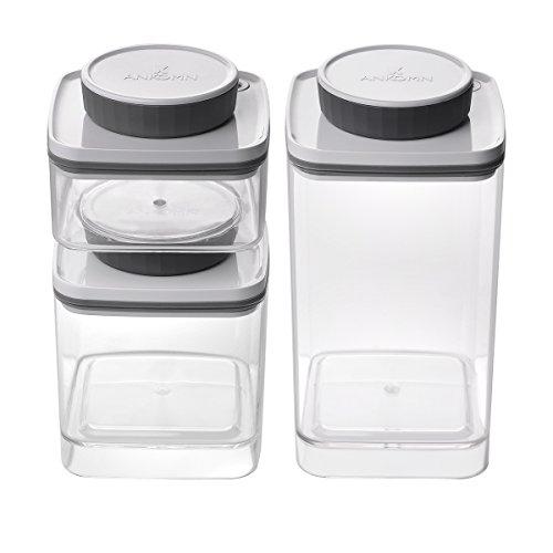 Ankomn Turn-N-Seal vacuum/airtight moisture prevent storage container perfect for Coffee Teas Rice Nuts Medicine (1.2+0.6+0.3quart)