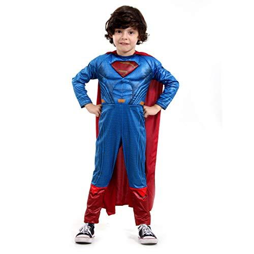 Fantasia Super Homem Luxo Infantil 920891-G, Azul/Vermelho, Sulamericana Fantasias