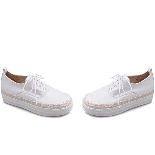 AllhqFashion Damen Schnüren Rund Zehe Mittler Absatz Rein Pumps Schuhe Weiß