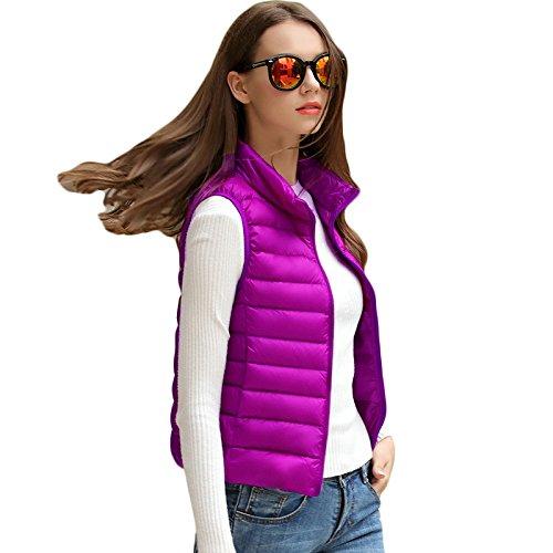プレーヤー恒久的たらい冬ノースリーブスリムダウン_purple_XL(着丈61cm、胸104cm、肩幅39cm)