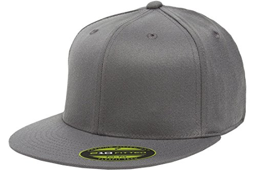 Flexfit/Yupoong Men's 210 Fitted Flat Bill Cap, Dark Gray, Large/Extra Large