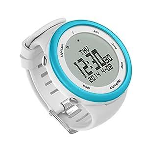 SUNROAD Impermeable retroiluminado Mujer Mujer Deportes al Aire Libre Inteligente Reloj Digital FR852A (Color: