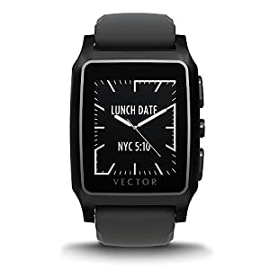 Vector Watch Meridian Smartwatch-30 Day+ Autonomy, 5ATM, Notifications, Activity Tracking - Black Case/ Black Silicon-Sport