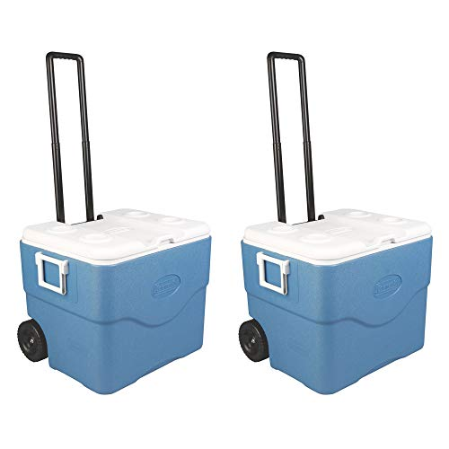 Coleman 75 Quart 118 Can Xtreme Wheeled Cooler with Extend Handle, Blue (2 Pack) (Coleman Xtreme 5 75 Quart Wheeled Cooler Blue)