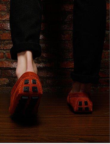 Happyshop (tm) Heren Leren Instapper Toevallige Gesp Loafer Rijden Heren Autoschoenen Moccasins Pantoffels Oranje (gesp)