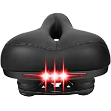 Comfortable Bike Seat Cushion Leather Bike Saddle with Safety Taillight, Dual-spring Suspension Artificial Designed, Memory Foam Pad