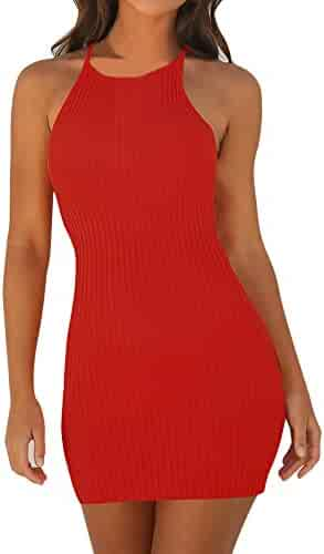 32bb3cfdd8dce vermers Womens Sexy Halter Dress Casual Sling Sleeveless Holiday Party Mini Dress  Fashion Solid Above Knee