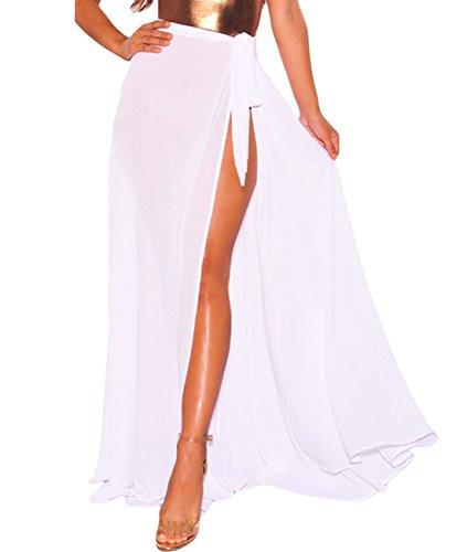 Lalagen Womens Wrap High Waist Summer Beach Cover Up Maxi Skirt White One Size