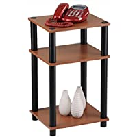 MOMENTUM FURNISHINGS PBF-0286-303 3 Tier Cherry Finish with Black Accents Corner Shelf