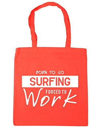 HippoWarehouse Born to go Surf obligado a trabajar bolsa de compras bolsa de playa 42cm x38cm, 10litros Coral