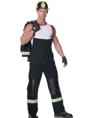 Underwraps Men's Plus-Size Rescuer, Black, XX-Large (Mens Sexy Firefighter Costume)