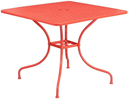 Flash Furniture Commercial Grade 35.5 Square Coral Indoor-Outdoor Steel Patio Table