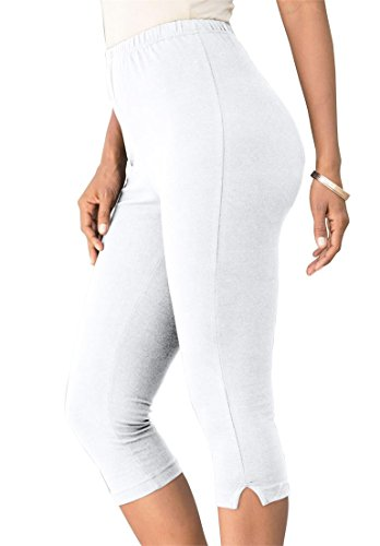 Roamans Women's Plus Size Stretch Knit Petite Capri Legging