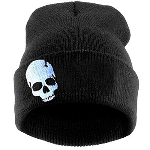 LOKIDVE Men Women Winter Embroideried Cuff Beanie Hat Knit Skull Cap-Skull White]()