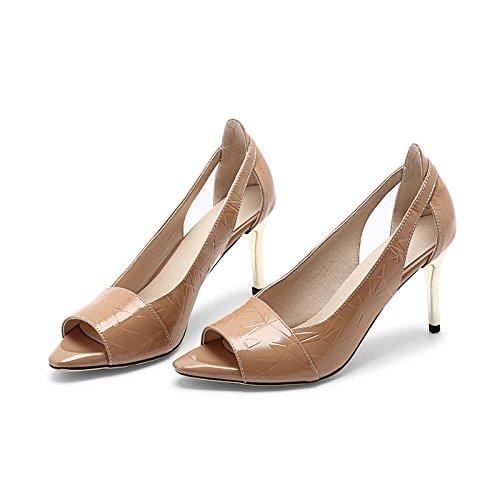 Tacón Alto Mujer Sandalias Primavera Zapatos De Tacón Mujer Tacón De De De Zapatos De Sandalias Alto Aguja Y Sandalias Verano De De De VIVIOO Zapatos Mujer Beige De Zapatos Poco Finos De Alto Boca Tacón Con qFwIvT0