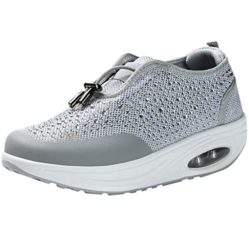 JESPER Sports Rocking Shoes Casual Thick Bottom Women Shoes Air Cushion Platform Running Sneakers White