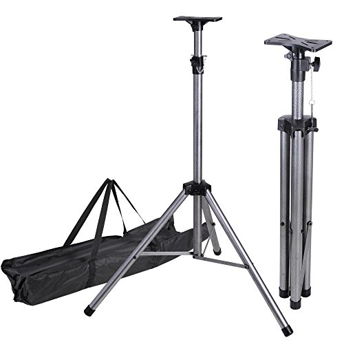 AW Pair of Universal DJ PA Speaker Lighting Tripod Support Stand Height Adjustable 39''-73'' Load 132lbs with Carrying Bag by AW