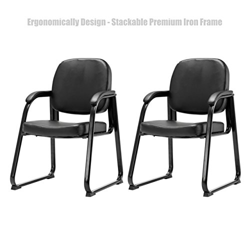 Koonlert@Shop Ergonomic Design Office Conference Lecture Reception Chair Stackable Thick Padded PU Leather Cushion Seat Power Coated Finish Premium Iron Frame Armchair - Set of 2 Black ()