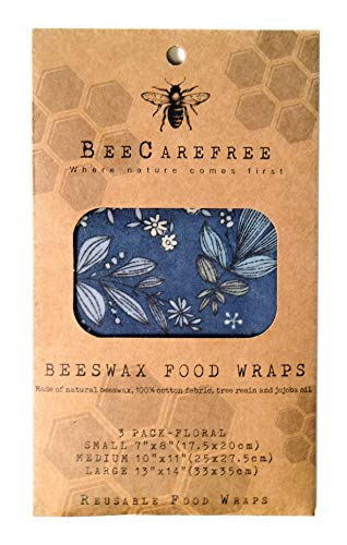Bee Carefree - Reusable Beeswax Food Wraps - Small,Medium,Large Set- Floral Sheets Variety Pack-Natural/Eco Friendly-Cover your Bread or Sandwich-Replaces Wrapping Plastic, Paper Bags or Cling Wrap