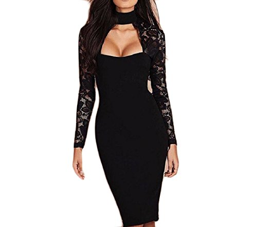 Dresses Hip Solid Black Women Trim Neck Coolred Stitching Package Halter Lace 7qTZxacz6
