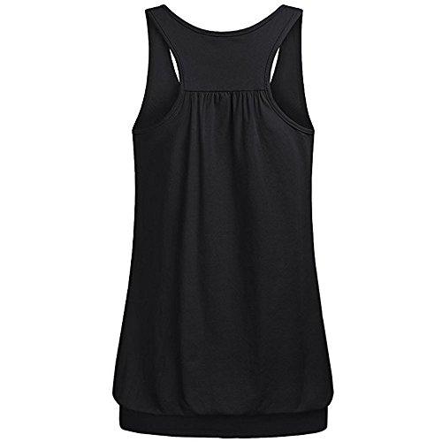 Women Summer Tank Top Sale,KIKOY O Neck Wrinkles Loose Racerback Workout Blouse Black ()