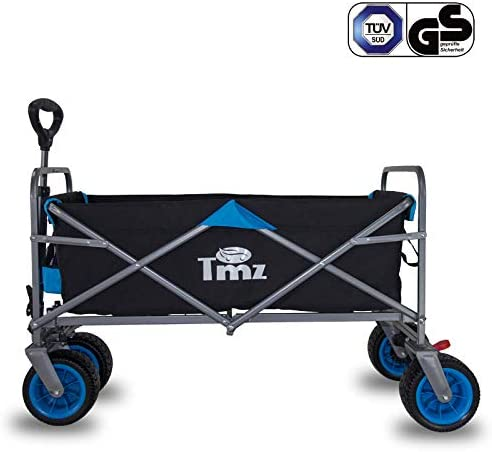 up to 120 kg foldable handcart with foot brake 90 L storage TMZ Patented all-terrain wide wheels hand trolley foldable garden trolley integrated front wheel steering transport trolley